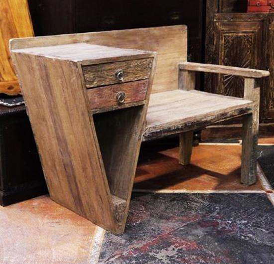 Salvaged wood seat