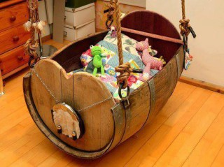Wine barrel crib